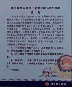 Cen Ping (zhen Ping) İlçe Emniyet Müdürlüğünün Zhao Hakkındaki İdari Ceza Kararı